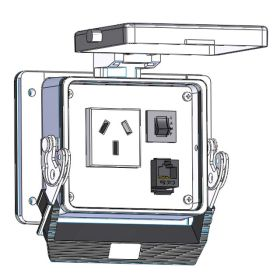Panel Interface Connector with Argentine outlet, RJ45 and 3amp reset, in a 32 housing