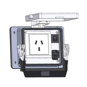 Panel Interface Connector with China 10amp outlet, RJ45, and 3amp reset, in a 32 housing
