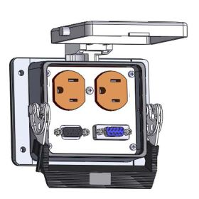 Panel Interface Connector with Duplex outlet, (1) 9 pin D-Sub, (1) 9 pin D-sub connected to a 3 pin Blue hose connection for Data Highway, in a 32 housing