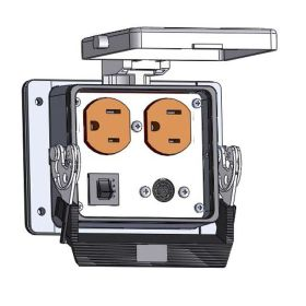 Panel Interface Connector with Duplex outlet, 8 pin mini din connected to a 3 pin Blue hose connection for Data Highway, a 3amp reset, in a 32 housing