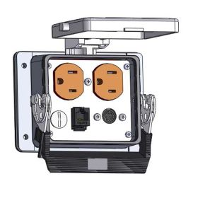 Panel Interface Connector with Duplex outlet, 8 pin mini din connected to a 3 pin Blue hose connection for Data Highway, an RJ45, in a 32 housing