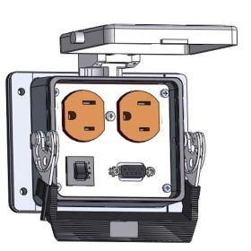 Panel Interface Connector with Duplex outlet, 9 pin D-sub connected to a 3 pin Blue hose connection for Data Highway, a 3amp reset, in a 32 housing