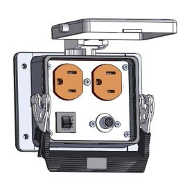 Panel Interface Connector with Duplex outlet, 8M, and a 3amp reset, in a 32 housing