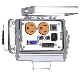 Panel Interface Connector with Duplex outlet, DDB15, 6M, RJ45, 2 x USB and a 3amp reset, in a 48 housing