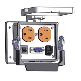 Panel Interface Connector with Duplex outlet, MDB9, RJ45, and a 3amp reset, in a 32 housing