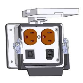 Panel Interface Connector with Duplex outlet, RJ45, and a 5amp reset, in a 32 housing