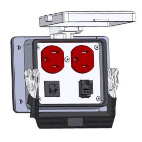 Panel Interface Connector with Duplex outlet, RJ45, and a 3amp reset, in a 32 housing