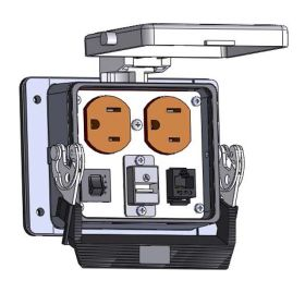 Panel Interface Connector with Duplex outlet, RJ45, USB-AFAF, and a 3amp reset, in a 32 housing