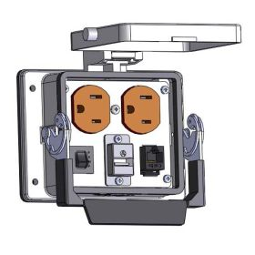 Panel Interface Connector with Duplex outlet, RJ45, USB-AFBF, and a 3amp reset, in a 32 housing