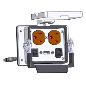 Panel Interface Connector with Duplex outlet, RJ45, USB-10, and a 3amp reset, in a 32 housing