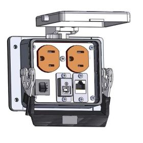 Panel Interface Connector with Duplex outlet, shielded RJ45, USB-BFAF, and a 3amp reset, in a 32 housing
