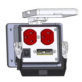 Panel Interface Connector with Duplex outlet, 2 x USB, and a 3amp reset, in a 32 housing
