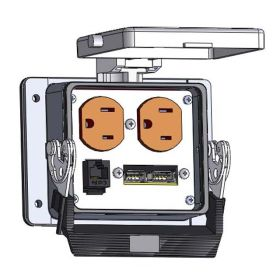 Panel Interface Connector with Duplex outlet, 2 x USB, RJ45, in a 32 housing