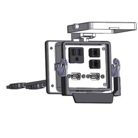 Panel Interface Connector with Simplex outlet, (2) RJ45, (2) USB-10, in a 32 housing