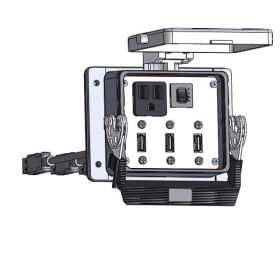 Panel Interface Connector with Simplex outlet, (3) USB-10, and a 3amp reset, in a 32 housing