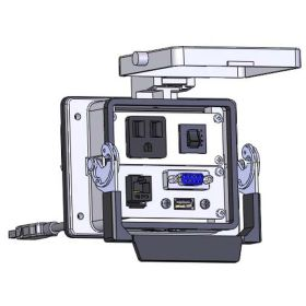 Panel Interface Connector with Simplex outlet, DB9, RJ45, USB-10, and a 3amp reset, in a 32 housing