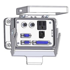Panel Interface Connector with Simplex outlet, DB9, DDB15, DB25, RJ45, (2) 6M, and a 3amp reset, in a 48 housing