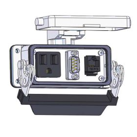 Panel Interface Connector with Simplex outlet, MDB9, RJ45, in a 16LS housing
