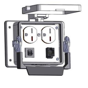 Panel Interface Connector with 220V Duplex outlet, RJ45, and a 3amp reset, in a 32 housing