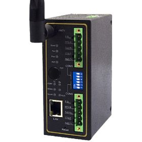 Wireless 802.11 b/g/n Modbus Gateway with 2 Serial ports, 1 Ethernet, Terminal Block, Fast P2P, one antenna, Metal Housing