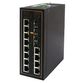 12-Port Managed Ethernet Switch with 4 Combo Gigabit Uplink Ports, Profinet & Ethernet/IP Ready, Metal Housing