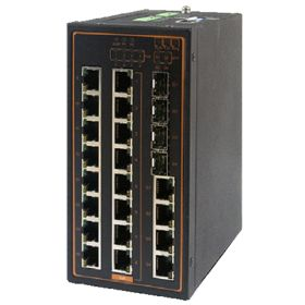 20-Port Managed Ethernet Switch with 4 Combo Gigabit Uplink Ports, Profinet & Ethernet/IP Ready, Metal Housing