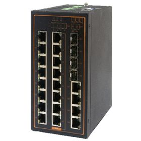 20-Port Managed Ethernet Switch with 4 Combo Gigabit Uplink Ports and 4 PoE Ports, Profinet & Ethernet/IP Ready, Metal Housing