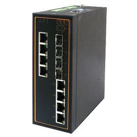 8-Port Managed Ethernet Switch with 4 Combo Gigabit Uplink Ports, Profinet & Ethernet/IP Ready, Metal Housing