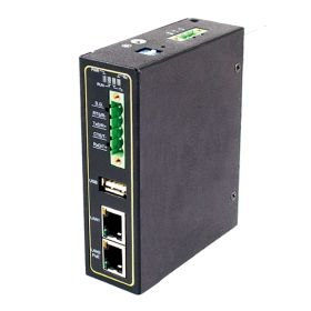 Industrial 4-Port Serial Device Server, TB5, RS-232/422/485, 2 Fast Ethernet RJ45 ports with PoE, 3KV Isolation, Metal Housing