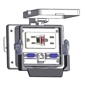 Panel Interface Connector with GFCI Duplex outlet, (2) DB9, RJ11, in a 32 housing