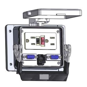 Panel Interface Connector with GFCI Duplex outlet, (2) DB9, RJ45, in a 32 housing