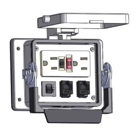 Panel Interface Connector with GFCI Duplex outlet, (2) RJ45, and a 5amp reset, in a 32 housing
