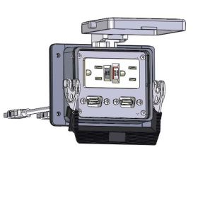 Panel Interface Connector with GFCI Duplex outlet, (2) USB-06, in a 32 housing