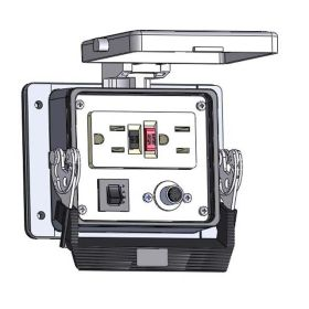 Panel Interface Connector with GFCI Duplex outlet, 8M, in a 32 housing