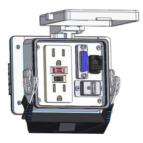 Panel Interface Connector with GFCI Duplex outlet, DB15, RJ45, USB-AFAF, in a 32 housing