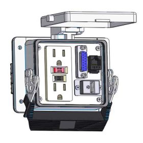Panel Interface Connector with GFCI Duplex outlet, DB15, RJ45, USB-AFBF, in a 32 housing
