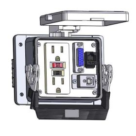 Panel Interface Connector with GFCI Duplex outlet, DB15, RJ45, USB-BFAF, in a 32 housing