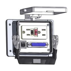 Panel Interface Connector with GFCI Duplex outlet, DB25, and a 3amp reset, in a 32 housing