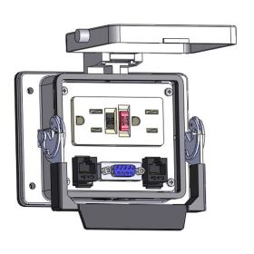 Panel Interface Connector with GFCI Duplex outlet, DB9, (2) RJ45, in a 32 housing