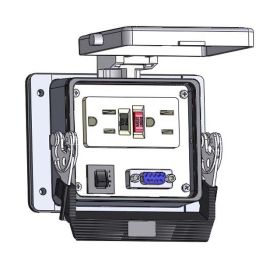 Panel Interface Connector with GFCI Duplex outlet, DB9, and a 3amp reset, in a 32 housing