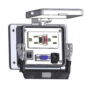 Panel Interface Connector with GFCI Duplex outlet, DB9, RJ45, and a 15amp reset, in a 32 housing