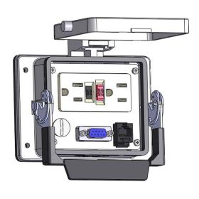 Panel Interface Connector with GFCI Duplex outlet, DB9F, RJ45, in a 32 housing