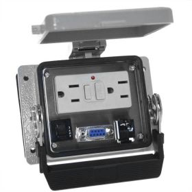 Panel Interface Connector with GFCI Duplex outlet, DB9F, RJ45, and a 3amp reset, in a 32 housing