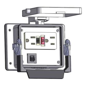 Panel Interface Connector with GFCI Duplex outlet, and a 3amp reset, in a 32 housing