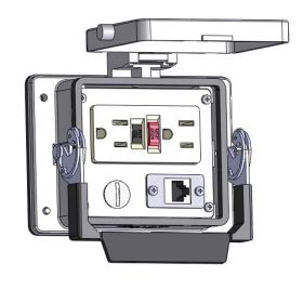Panel Interface Connector with GFCI Duplex outlet, shielded RJ45, in a 32 housing