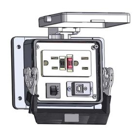 Panel Interface Connector with GFCI Duplex outlet, USB-BFAF, and a 3amp reset, in a 32 housing