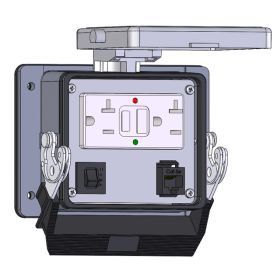 Panel Interface Connector with GFCI Duplex Outlet Outside and Simplex Outlet inside, RJ45, and a 10amp reset, in a 32 housing