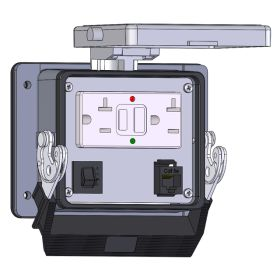 Panel Interface Connector with GFCI Duplex Outlet Outside and Simplex Outlet inside, RJ45, and a 5amp reset, in a 32 housing