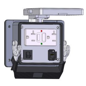 Panel Interface Connector with GFCI Duplex Outlet Outside and Simplex Outlet inside, RJ45, and a 3amp reset, in a 32 housing