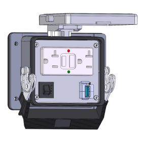 Panel Interface Connector with GFCI Duplex Outlet Outside and Simplex Outlet inside, form A USB to form A USB, and a 10amp reset, in a 32 housing
